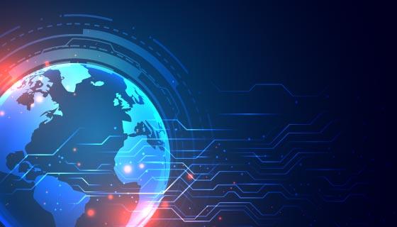 地球和电路图科技背景矢量素材(EPS)