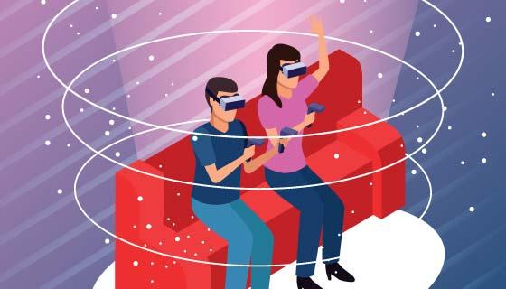夫妻一起玩VR矢量素材(EPS)