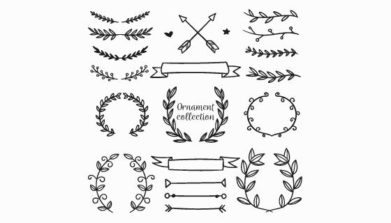 手绘风格装饰物品矢量素材(AI/EPS/PNG)