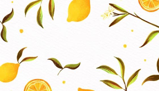 柠檬和柠檬叶子背景矢量素材(AI/EPS)