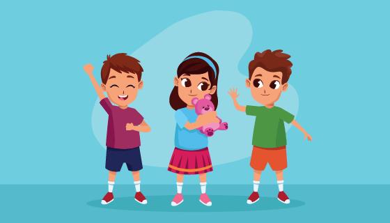 可爱快乐的儿童矢量素材(EPS/PNG)