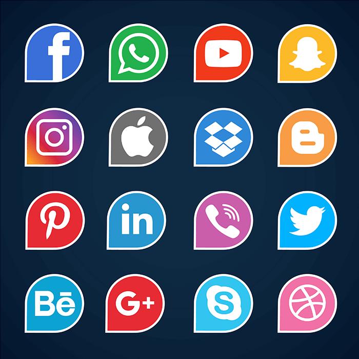 16个社交媒体图标矢量素材(EPS)