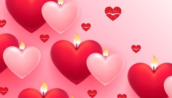 红色粉色爱心图案矢量素材(EPS)