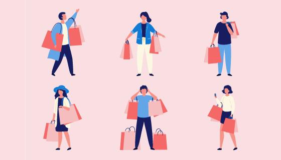 扁平风格购物的人们矢量素材(EPS/AI/PNG)
