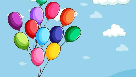 漂浮在天空种的彩色气球矢量素材(EPS/PNG)