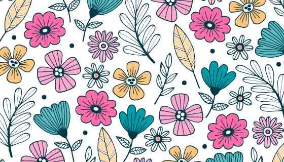 手绘花卉自然背景矢量素材(AI/EPS/PNG)