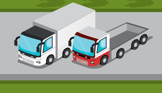 停在路边的卡车矢量素材(EPS)