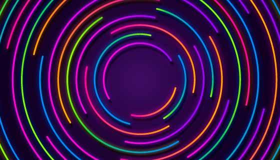 彩色圆形霓虹灯背景矢量素材(AI/EPS)