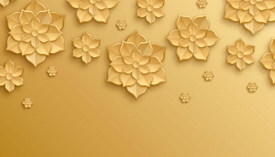 金色花朵背景矢量素材(AI/EPS)