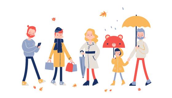 秋天装扮的人们矢量素材(AI/EPS/PNG)