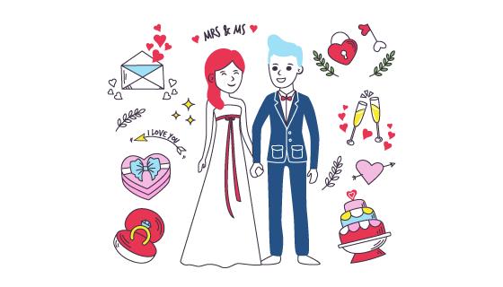 新郎新娘和婚礼元素矢量素材(AI/EPS/PNG)