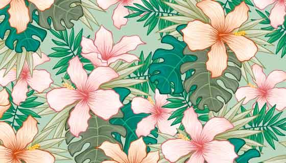 手绘热带花卉背景矢量素材(AI/EPS)