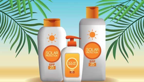 夏天防晒产品设计矢量素材(EPS)