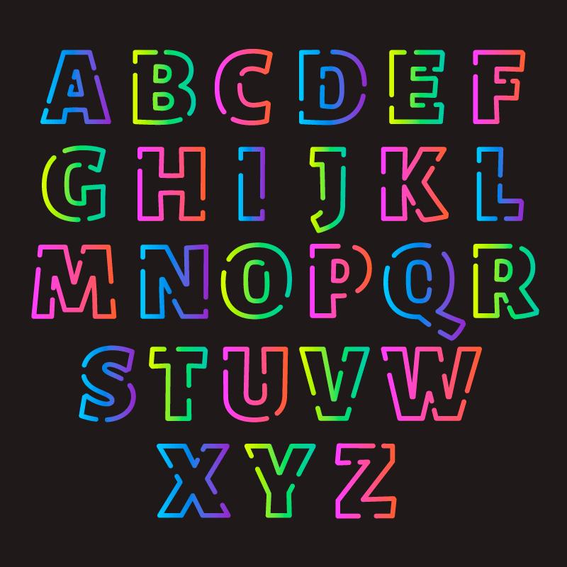 多彩渐变字母矢量素材(AI/EPS/免扣PNG)