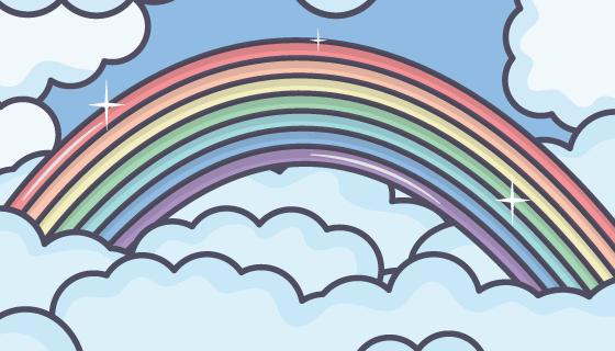 卡通彩虹和云朵矢量素材(EPS)