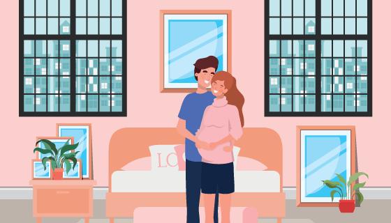 怀孕夫妇卧室场景矢量素材(EPS)