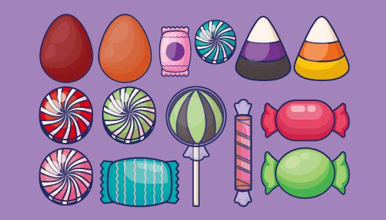 各种各样的糖果营矢量素材(EPS/PNG)