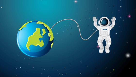 宇航员飞行在太空中矢量素材(EPS)
