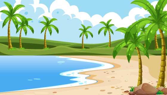 空旷的海滩景色矢量素材(EPS)