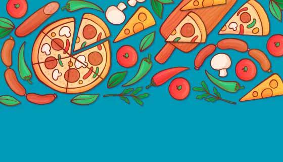 手绘美味披萨背景矢量素材(AI/EPS/PNG)