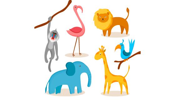 扁平风格动物矢量素材(AI/EPS/PNG)