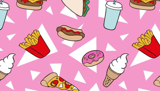 手绘食物图案背景矢量素材(AI/EPS)