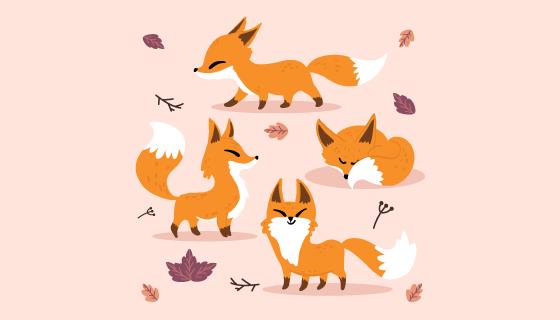手绘可爱的狐狸矢量素材(AI/EPS/PNG)