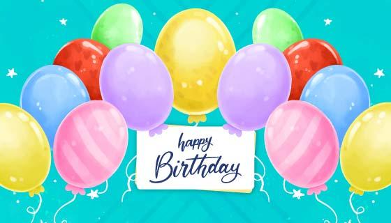 水彩气球生日快乐背景矢量素材(AI/EPS)