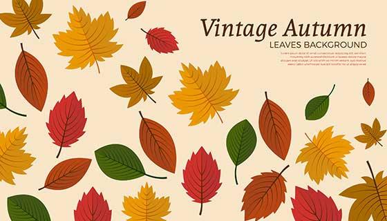 多彩叶子设计秋天背景矢量素材(AI/EPS)
