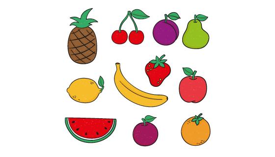 手绘扁平风格水果矢量素材(AI/EPS/PNG)