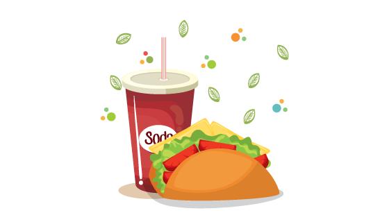 美味可乐汉堡矢量素材(EPS)