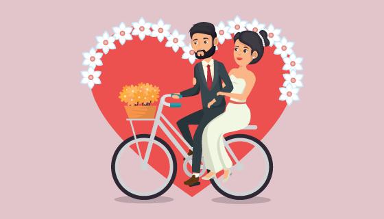 骑自行车的新浪新娘矢量素材(EPS)
