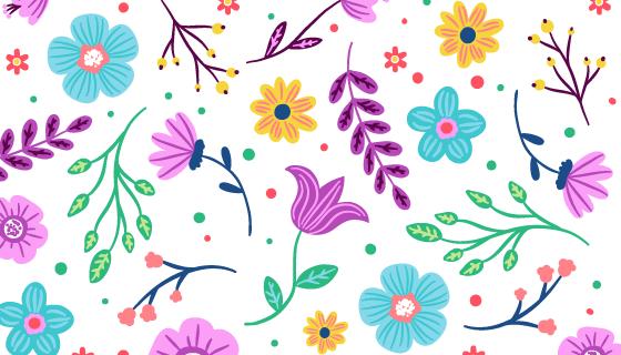 多彩花卉图案背景矢量素材(AI/EPS/PNG)