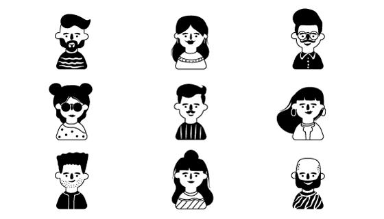 手绘黑白人物头像矢量素材(AI/EPS/PNG)