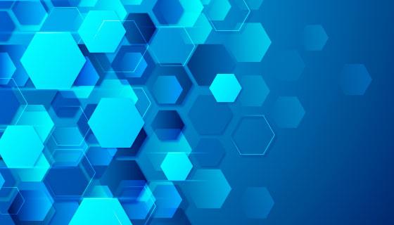 蓝色六边形科技背景矢量素材(AI/EPS)
