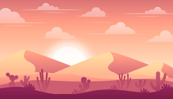 沙漠风景背景矢量素材(AI/EPS)
