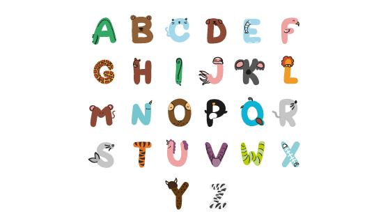 可爱动物英文字母矢量素材(AI/EPS/PNG)