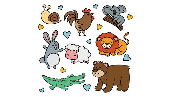手绘风格可爱动物矢量素材(AI/EPS/PNG)