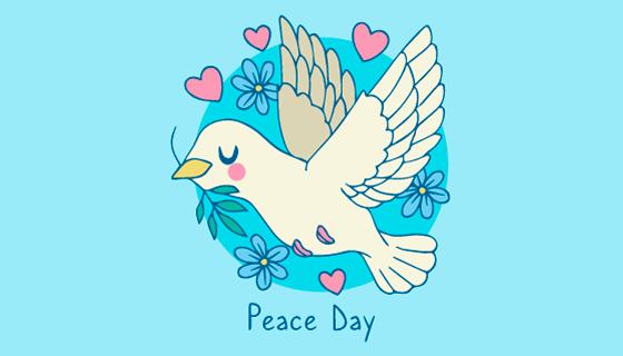 手绘鸽子设计世界和平日矢量素材(AI/EPS)