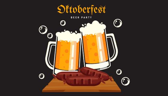碰杯啤酒设计啤酒节矢量素材(AI/EPS/PNG)