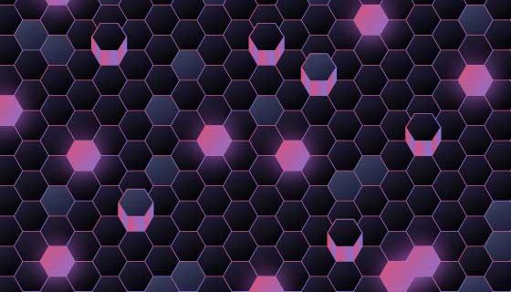 紫色蜂窝科技背景矢量素材(AI/EPS)
