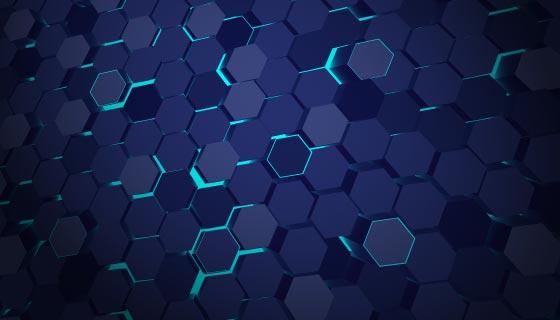 蓝色蜂窝科技背景矢量素材(AI/EPS)