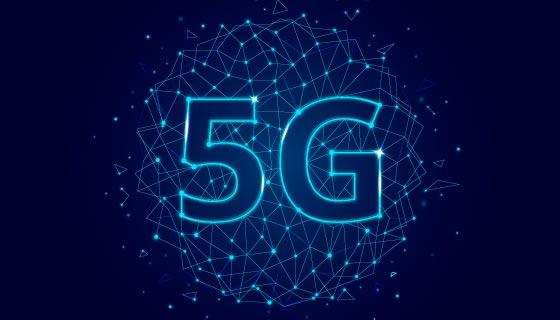 蓝色5G网络概念背景矢量素材(AI/EPS/PNG)