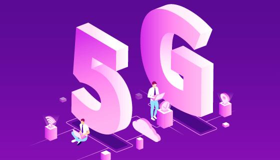 紫色5G网络概念背景矢量素材(AI/EPS)