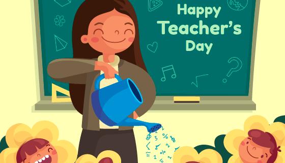 老师浇花教师节矢量素材(AI/EPS)