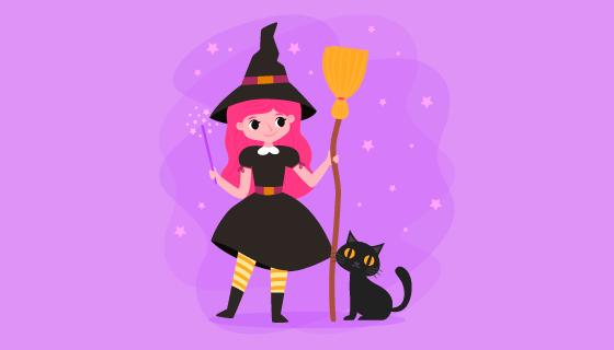 可爱的万圣节女巫和猫咪矢量素材(AI/EPS/PNG)