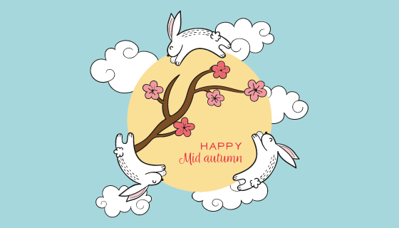 手绘兔子月亮中秋节矢量素材(AI/EPS/PNG)