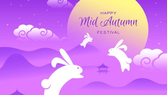 兔子奔月中秋节矢量素材(AI/EPS)
