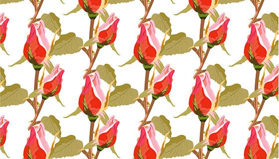 红玫瑰图案背景矢量素材(EPS)