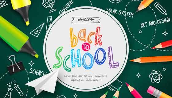 绿色黑板和铅笔设计开学季矢量素材(EPS)